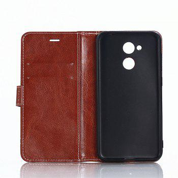 PU Leather Case for Huawei Honor 6A Lichi Grain Wallet Style with Stand Function and Card Holder - LIGHT BROWN