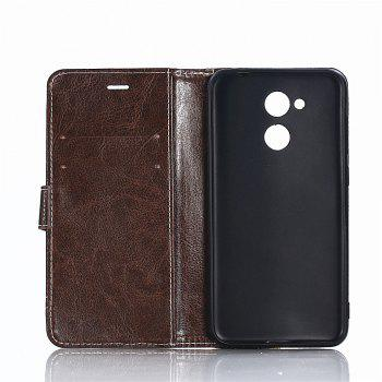 PU Leather Case for Huawei Honor 6A Lichi Grain Wallet Style with Stand Function and Card Holder - DEEP BROWN