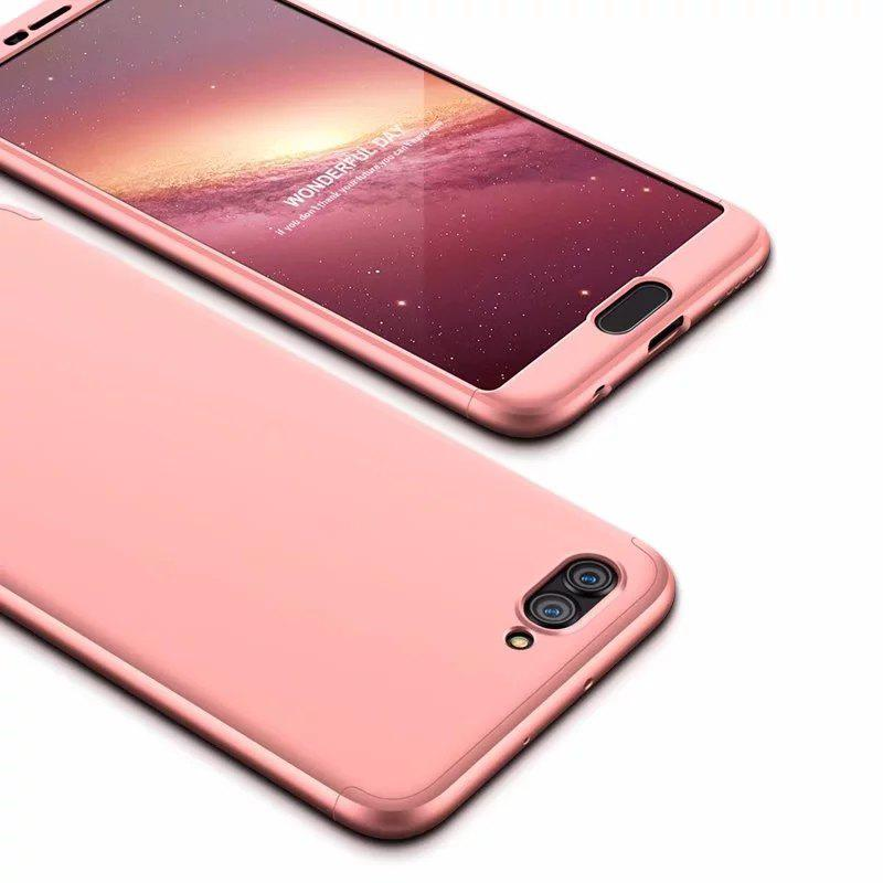 Hybrid Anti Fingerprint Scratches Soft Grip 360 Degree Full Body Protection Cover for HUAWEI hornor V10 - PINK
