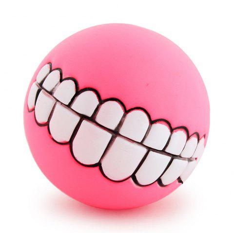 Pets Dog Puppy Cat Ball Teeth Style Toy Silicone Chew Sound Play Tool Puppy Cat Ball Toy - PINK