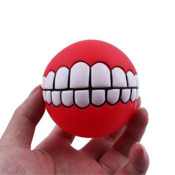 Pets Dog Puppy Cat Ball Teeth Style Toy Silicone Chew Sound Play Tool Puppy Cat Ball Toy - RED