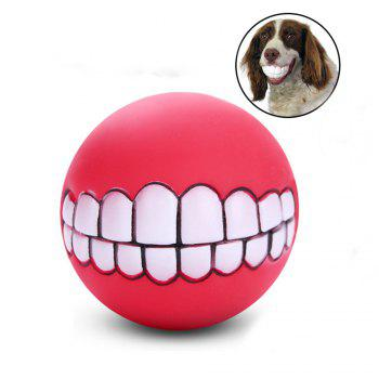 Pets Dog Puppy Cat Ball Teeth Style Toy Silicone Chew Sound Play Tool Puppy Cat Ball Toy - RED RED
