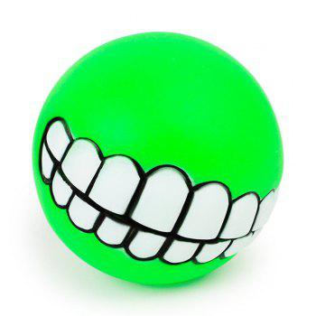 Pets Dog Puppy Cat Ball Teeth Style Toy Silicone Chew Sound Play Tool Puppy Cat Ball Toy - GREEN GREEN
