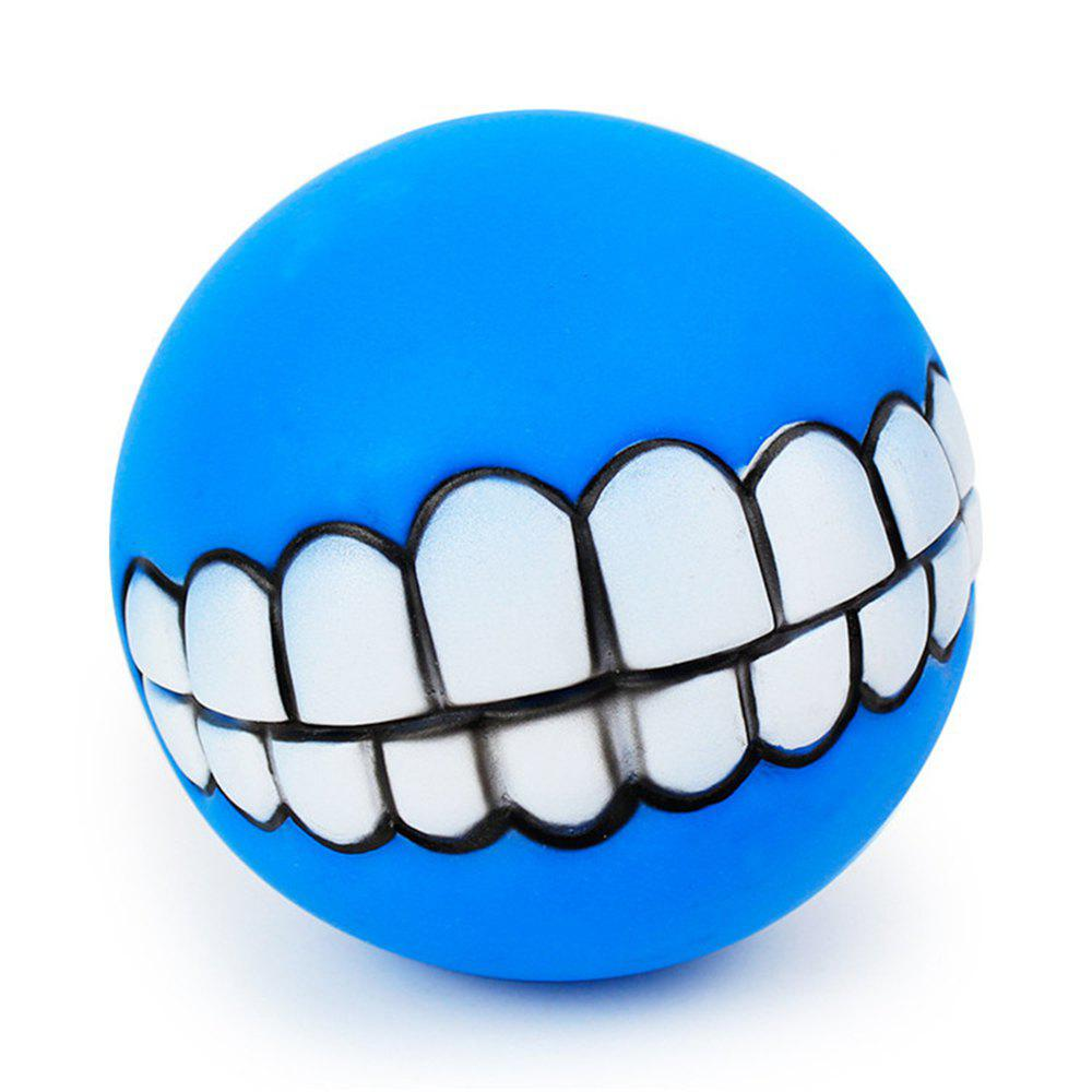Pets Dog Puppy Cat Ball Teeth Style Toy Silicone Chew Sound Play Tool Puppy Cat Ball Toy - BLUE