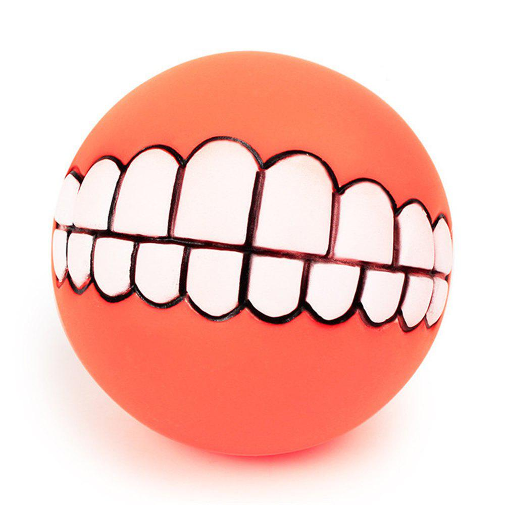 Pets Dog Puppy Cat Ball Teeth Style Toy Silicone Chew Sound Play Tool Puppy Cat Ball Toy - ORANGE