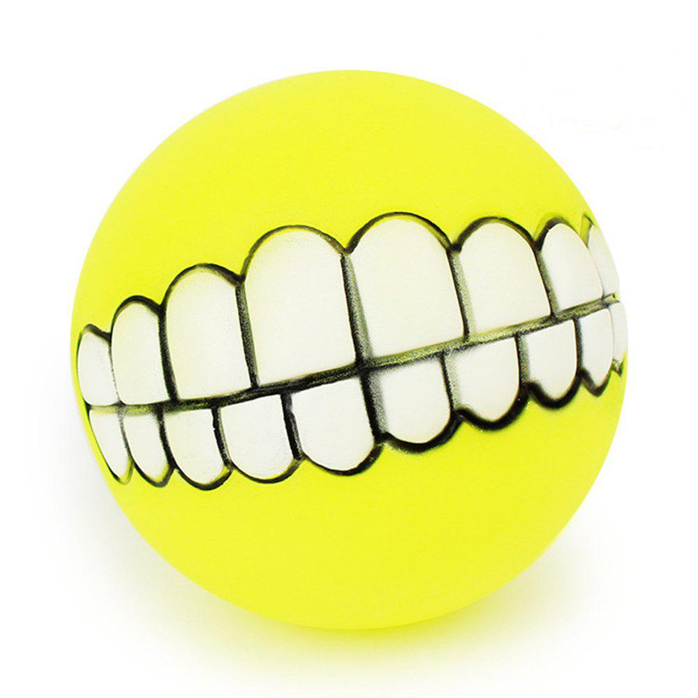 Pets Dog Puppy Cat Ball Teeth Style Toy Silicone Chew Sound Play Tool Puppy Cat Ball Toy - YELLOW