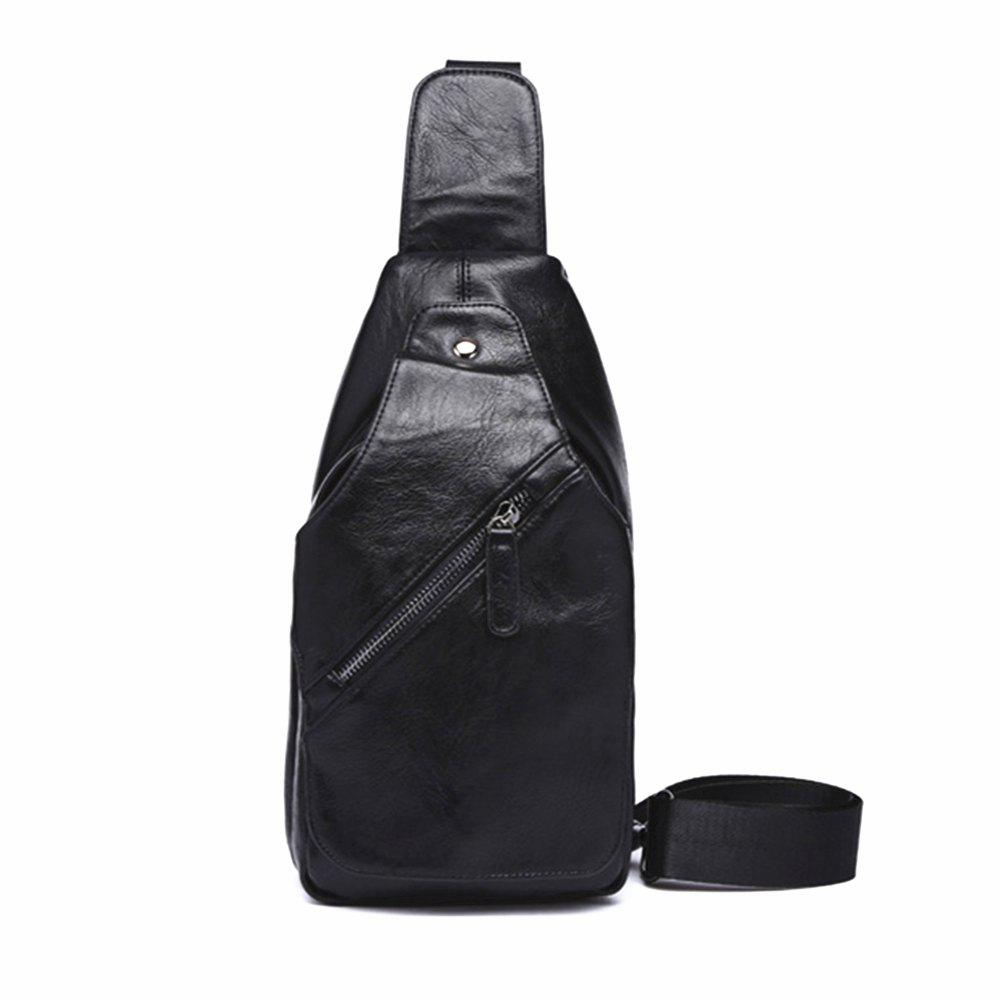 Men Inclined Zipper Soft Large Capacity Genuine Chest Bag - BLACK VERTICAL