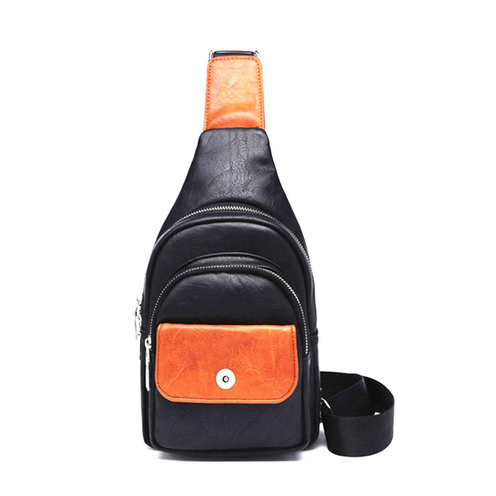 Men Zipper Contrast Color Chest Bag - BLACK VERTICAL