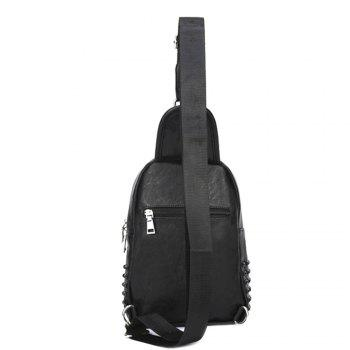 Men Front Pocket Zipper Pyramid Rivet Chest Bag - BLACK BLACK