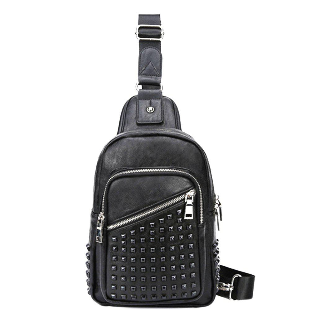 Men Front Pocket Zipper Pyramid Rivet Chest Bag - BLACK VERTICAL