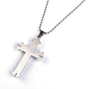 Stainless Steel Cross Pendant Mens Necklace Chain Accessories - BLUE