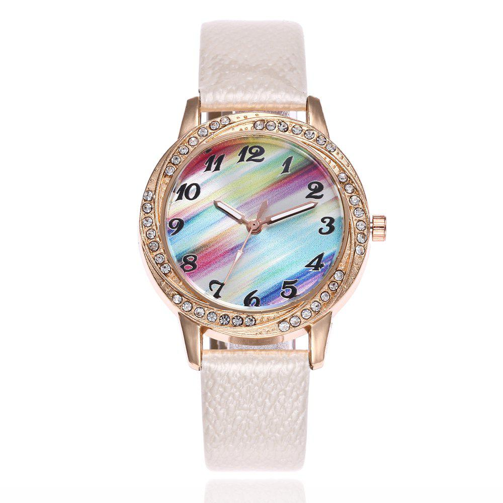 Khorasan The Rainbow Dial of Lady'S Belt Watch with Drill - WHITE