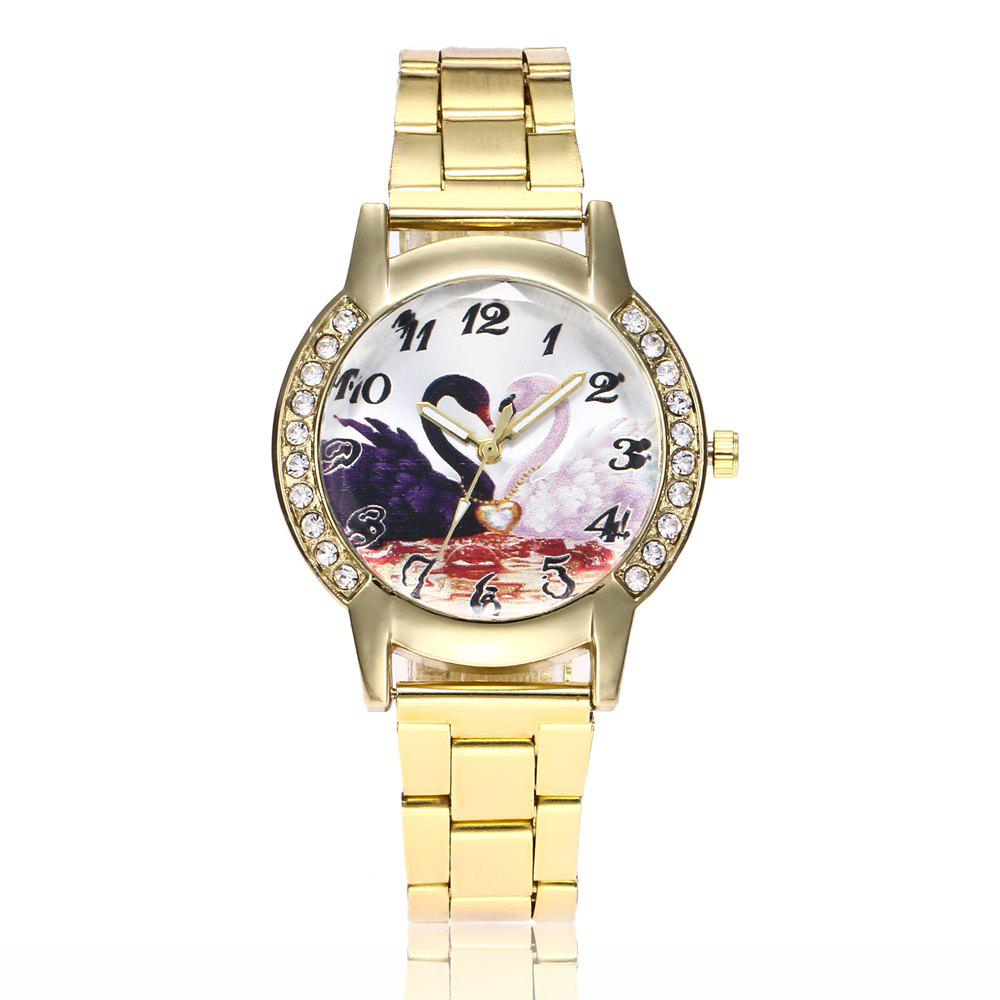 Khorasan Swan Dial Women'S Steel Band Quartz Watch with Drill - GOLDEN