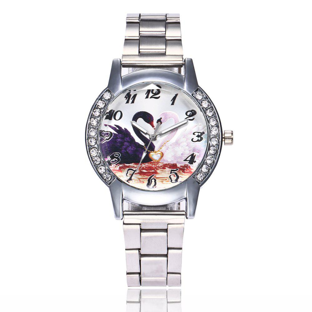 Khorasan Swan Dial Women'S Steel Band Quartz Watch with Drill - SILVER