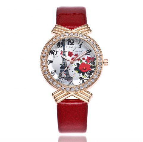 Khorasan The Paris Tower Rose of Women'S Quartz Watch with Drill - RED