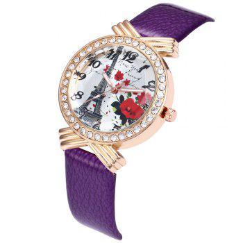 Khorasan The Paris Tower Rose of Women'S Quartz Watch with Drill - PURPLE