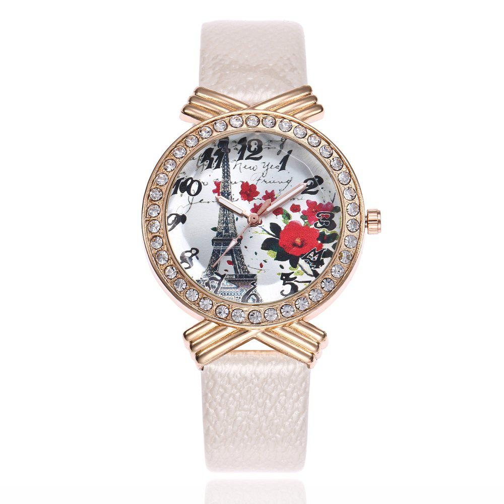 Khorasan The Paris Tower Rose of Women'S Quartz Watch with Drill - WHITE