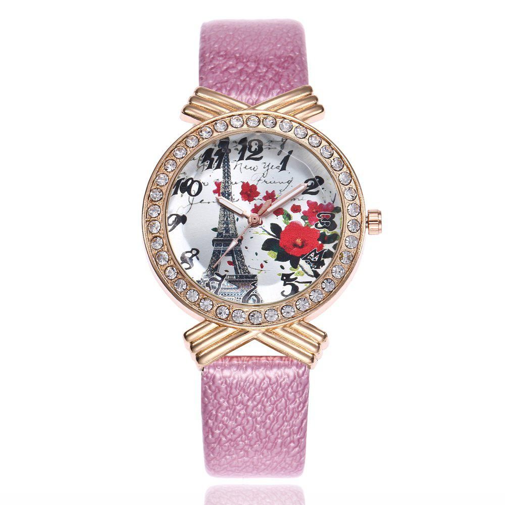 Khorasan The Paris Tower Rose of Women'S Quartz Watch with Drill - PINK