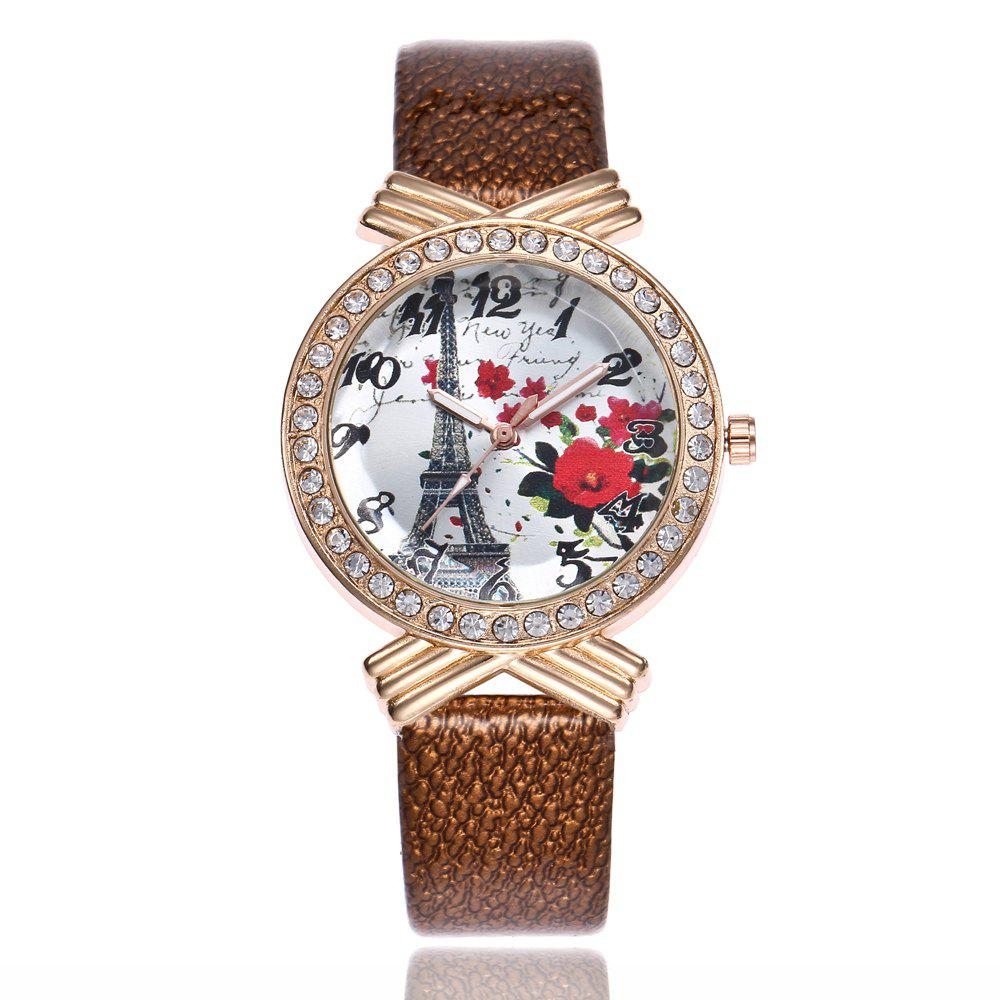Khorasan The Paris Tower Rose of Women'S Quartz Watch with Drill - BROWN