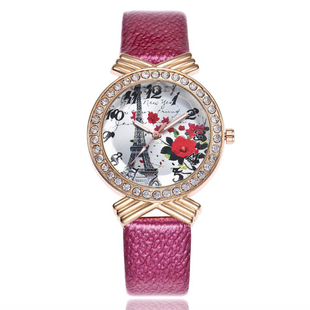 Khorasan The Paris Tower Rose of Women'S Quartz Watch with Drill - ROSE RED