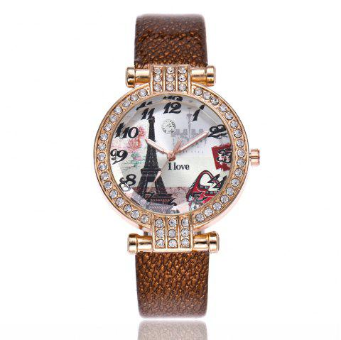Khorasan The Eiffel Tower in Paris Dial of Quartz Watch with Drill - BROWN