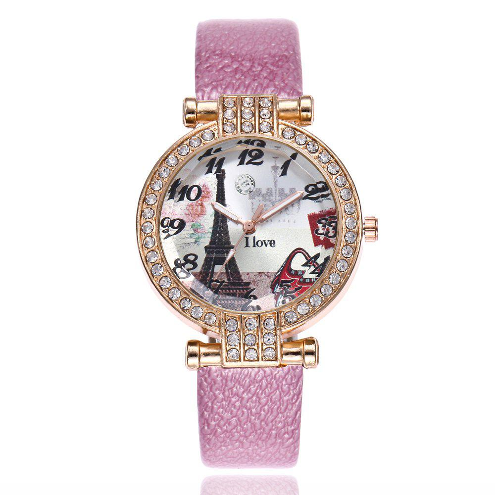 Khorasan The Eiffel Tower in Paris Dial of Quartz Watch with Drill - PINK