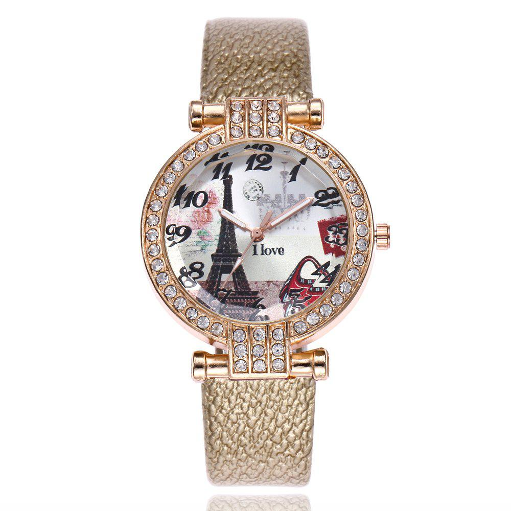 Khorasan The Eiffel Tower in Paris Dial of Quartz Watch with Drill - GOLDEN