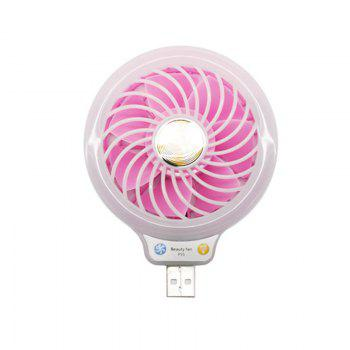 Mini USB Fan Portable Including Power Bank Phone Charger with Internal Lights for Personal Cooling at Any Time - PINK PINK