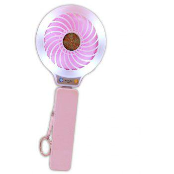 Mini USB Fan Portable Including Power Bank Phone Charger with Internal Lights for Personal Cooling at Any Time - PINK