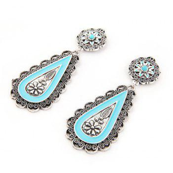 New Trend Ear Nail Turquoise Earrings - SILVER