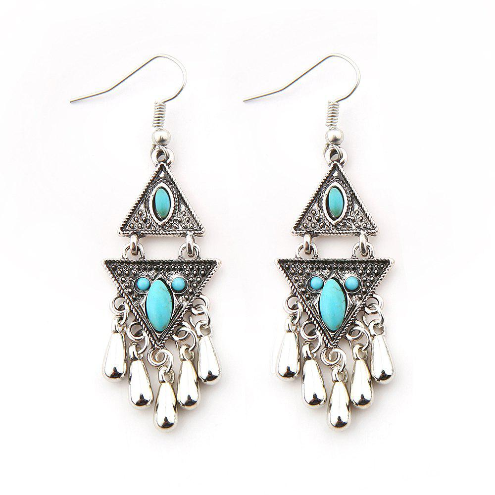 2018 new turquoise triangle earring earrings silver in. Black Bedroom Furniture Sets. Home Design Ideas