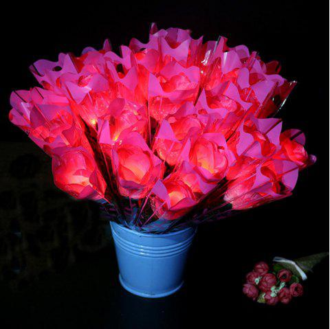 LED Flashing Rose Flower Wedding Anniversary Party Decorations Hair Glow Gift - PINK