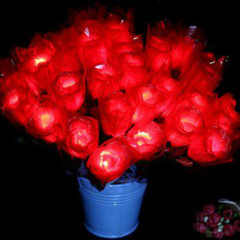 LED Flashing Rose Flower Wedding Anniversary Party Decorations Hair Glow Gift - RED RED