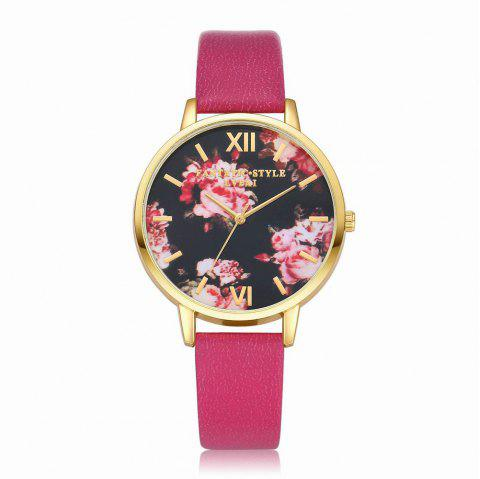 Lvpai P086-G Women Fashion Leather Band Flowers Dial Quartz Watches - ROSE RED