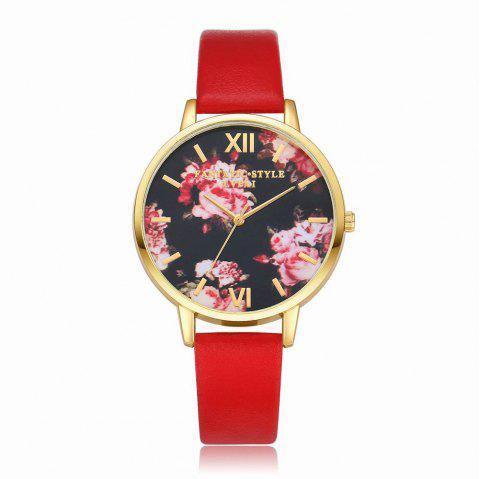 Lvpai P086-G Women Fashion Leather Band Flowers Dial Quartz Watches - RED
