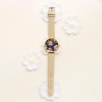 Lvpai P086-G Women Fashion Leather Band Flowers Dial Quartz Watches - BROWN