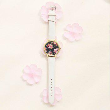 Lvpai P086-G Women Fashion Leather Band Flowers Dial Quartz Watches - WHITE
