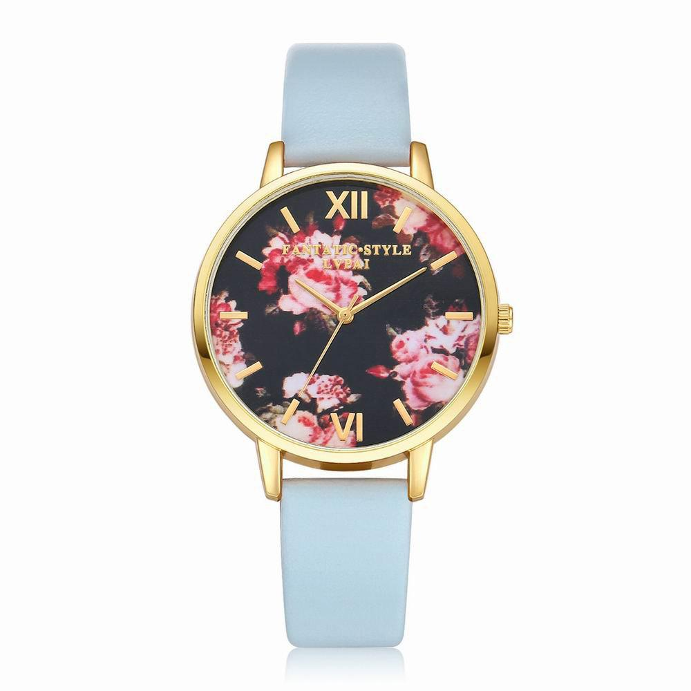 Lvpai P086-G Women Fashion Leather Band Flowers Dial Quartz Watches - SKY BLUE