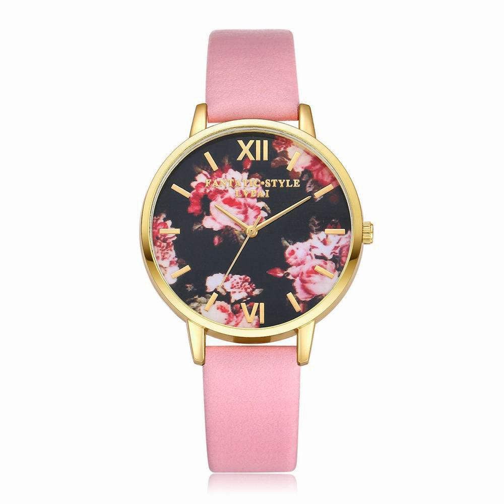 Lvpai P086-G Women Fashion Leather Band Flowers Dial Quartz Watches - PINK