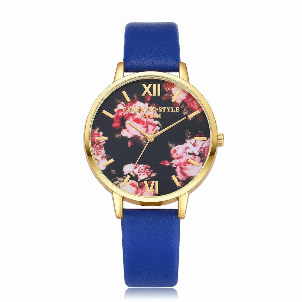 Lvpai P086-G Women Fashion Leather Band Flowers Dial Quartz Watches - ROYAL