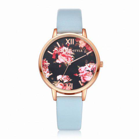 Lvpai P086-R Women Fashion Leather Band Flowers Dial Quartz Watches - SKY BLUE