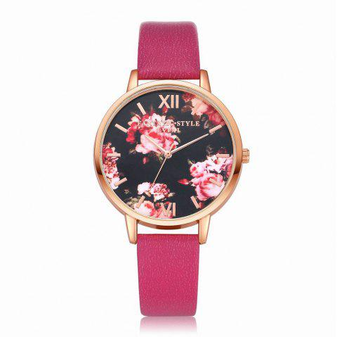 Lvpai P086-R Women Fashion Leather Band Flowers Dial Quartz Watches - ROSE RED