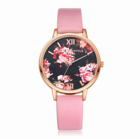 Lvpai P086-R Women Fashion Leather Band Flowers Dial Quartz Watches - PINK