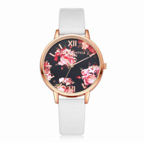 Lvpai P086-R Women Fashion Leather Band Flowers Dial Quartz Watches - WHITE