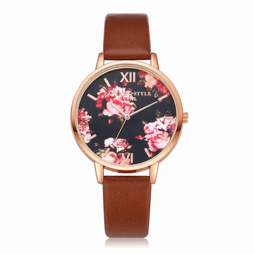 Lvpai P086-R Women Fashion Leather Band Flowers Dial Quartz Watches - COFFEE