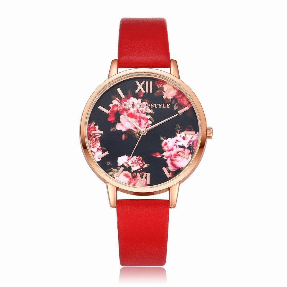 Lvpai P086-R Women Fashion Leather Band Flowers Dial Quartz Watches - RED