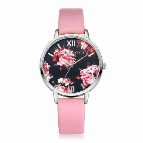 Lvpai P086-S Women Fashion Leather Band Flowers Dial Quartz Watches - PINK