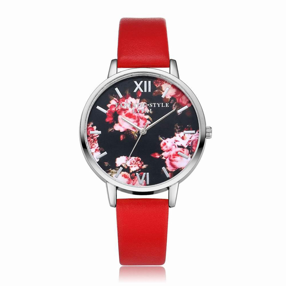 Lvpai P086-S Women Fashion Leather Band Flowers Dial Quartz Watches - RED