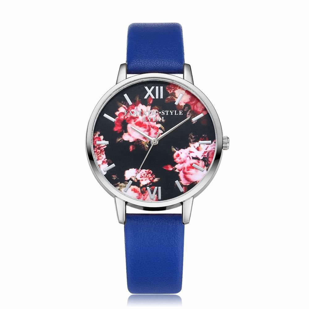 Lvpai P086-S Women Fashion Leather Band Flowers Dial Quartz Watches - BLUE