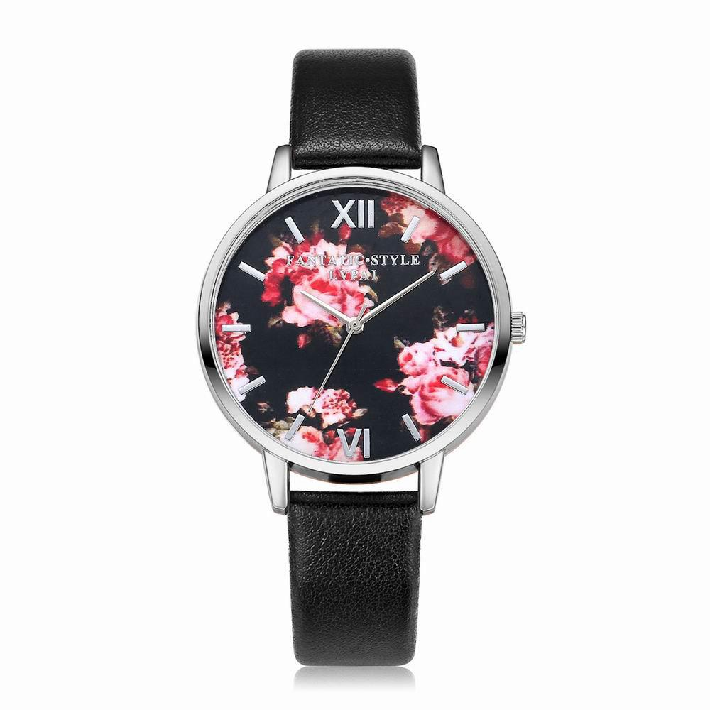 Lvpai P086-S Women Fashion Leather Band Flowers Dial Quartz Watches - BLACK